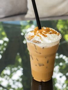 caramel iced coffee with unhealthy add-ins