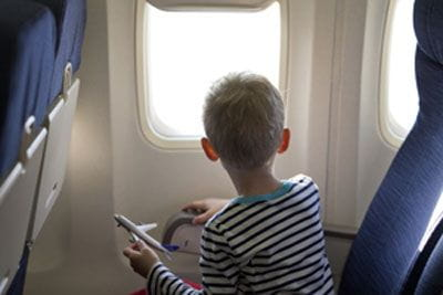 little boy on plane