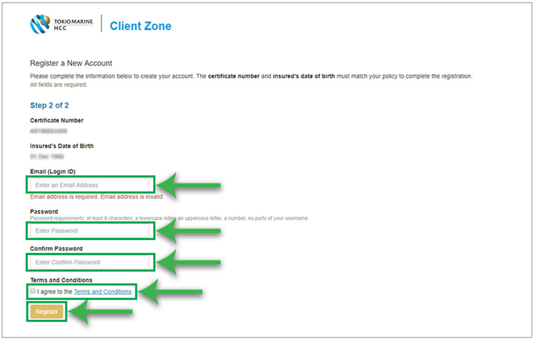 Step 2 of registering a new Client Zone account
