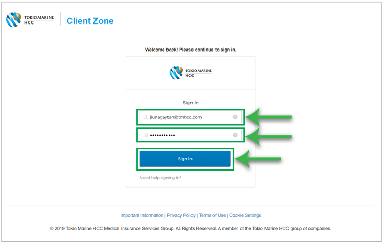 Sign In page in Client Zone