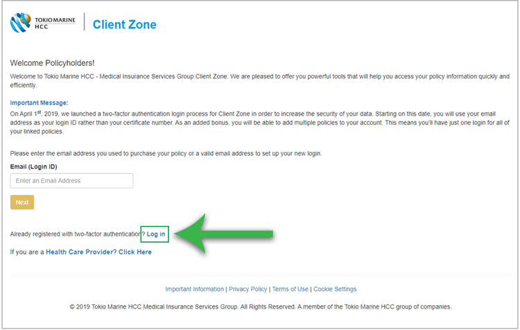 Log in to view your claim status