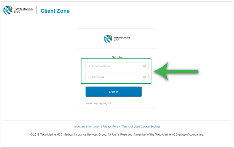 Signing into Client Zone