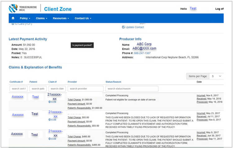 Claims & Explanation of Benefits page in Client Zone