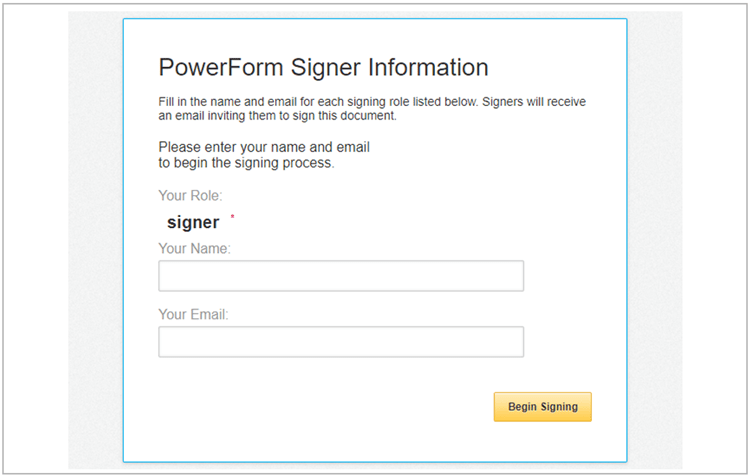 PowerForm Signer Information page in Client Zone