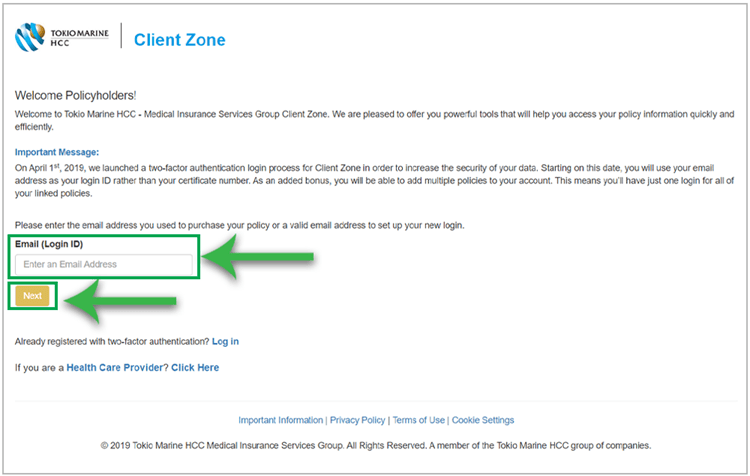 Register for a new account in Client Zone