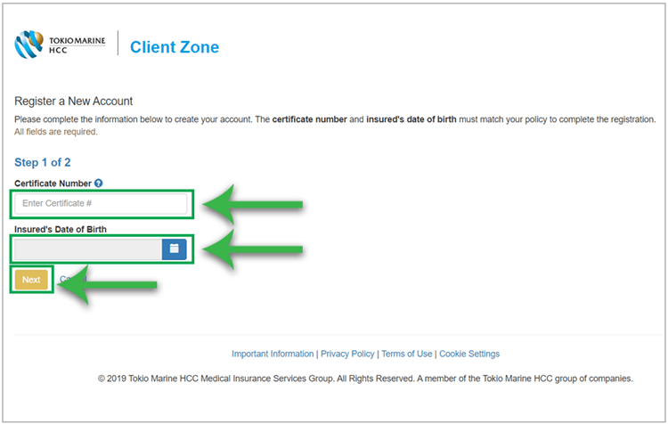 Steps for registering a new account in Client Zone